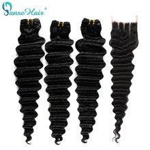 Panse Hair Indian Deep Wave Hair With Closure Natural Color Remy Hair Bundles 4X4 Swiss Lace Closure Free Shipping Extensions
