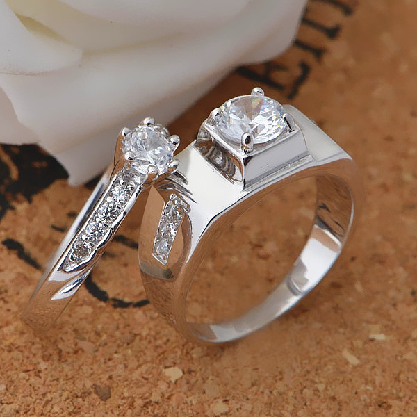 Inspirational White Gold Couple Ring Set Jewellrys Website