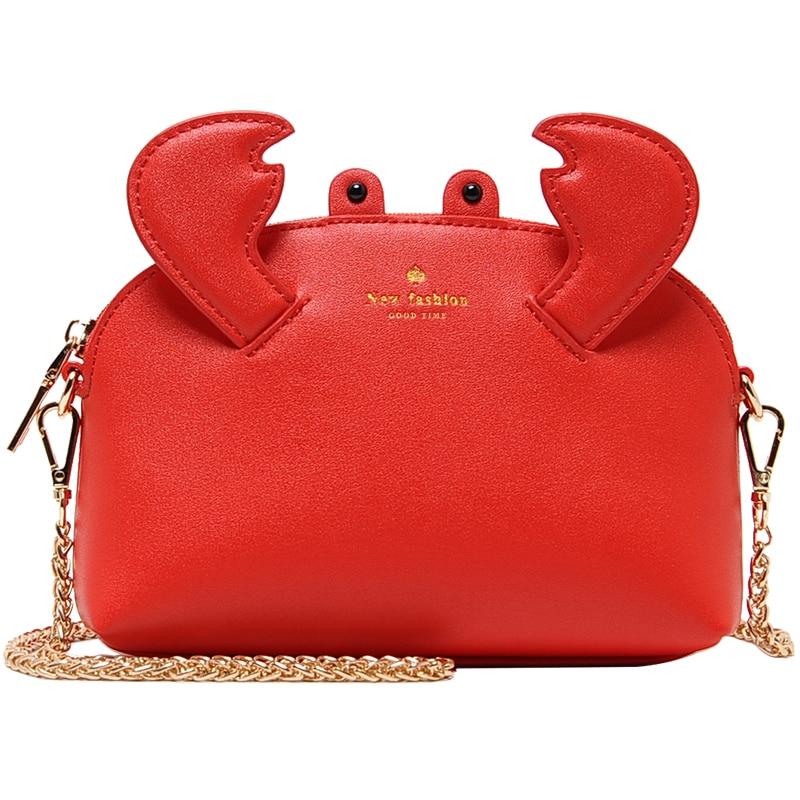 2018 New Cute Lobster Shape Handbags for Women Red Leather Handbag Female Mini Shoulder Bags Small Chain Crossbody Bags Lady Bag все цены
