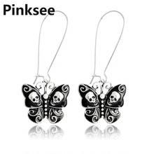 Fashion Lady Black Gothic Butterfly Skull Drop Hook Dangle Earrings Punk Vintage Jewelry For Women Girls