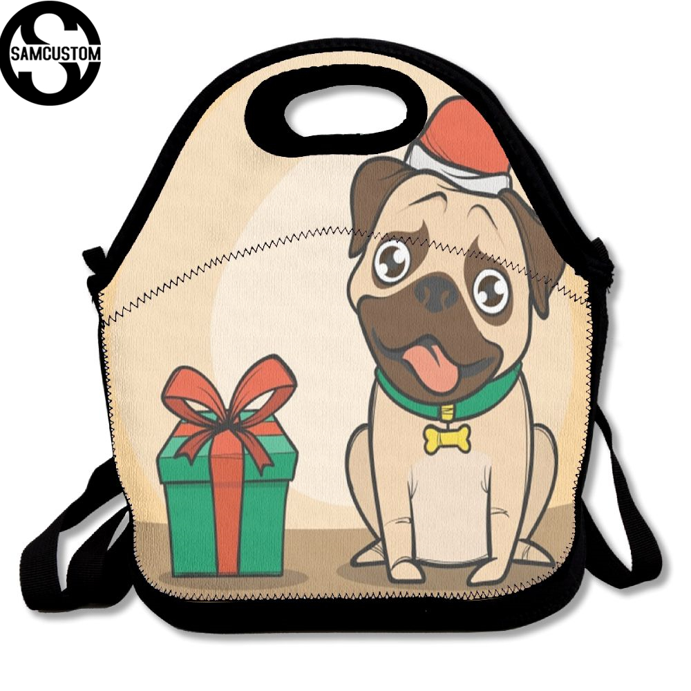 SAMCUSTOM 3D Print Pug dog gift Lunch Bags Insulated Waterproof Food Girl Packages men and women Kids Babys Boys Handbags