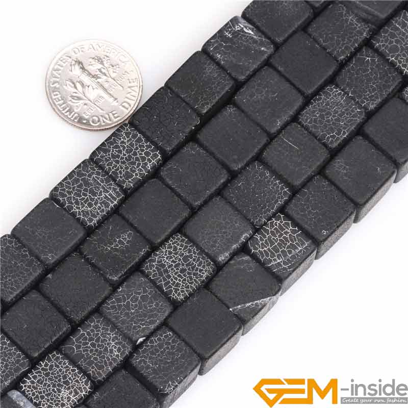 10mm Matte Frosted Cube Natural Black Agates Stone Gem Stone Semi Precious Beads Loose Bead For Jewelry Making Wholesale