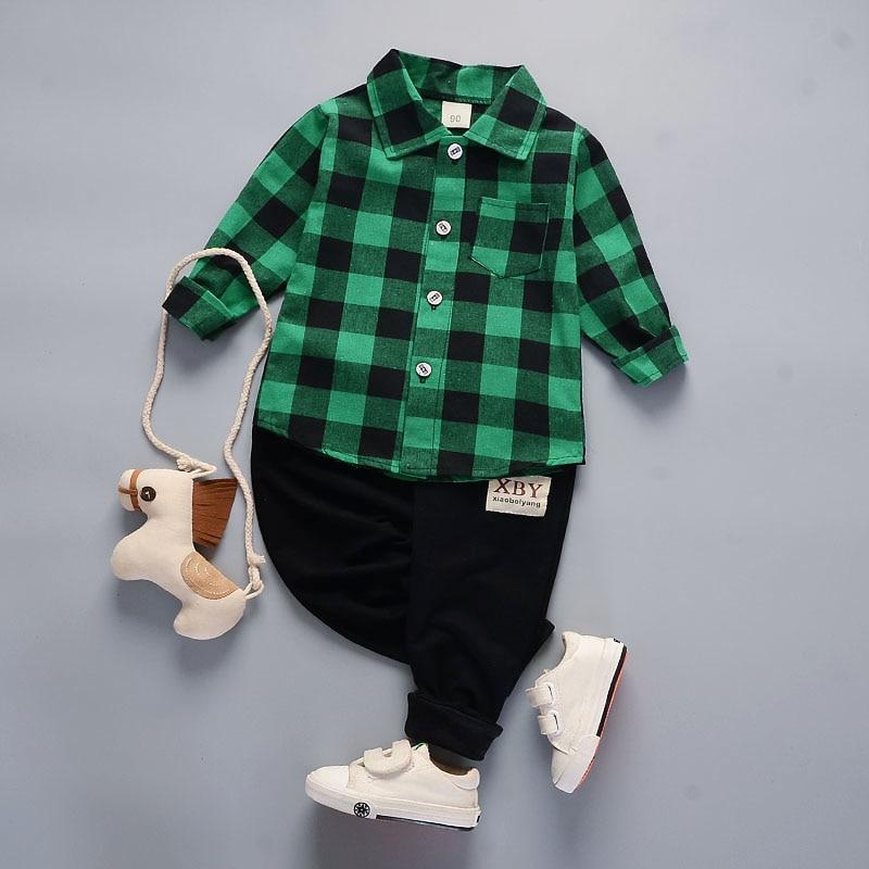 Children Clothing Handsome Boys 2pcs Suit Long-sleeve Shirts+Trousers Lapel Plaid Polo Shirt + Sports Pants Baby Boy Two-piece