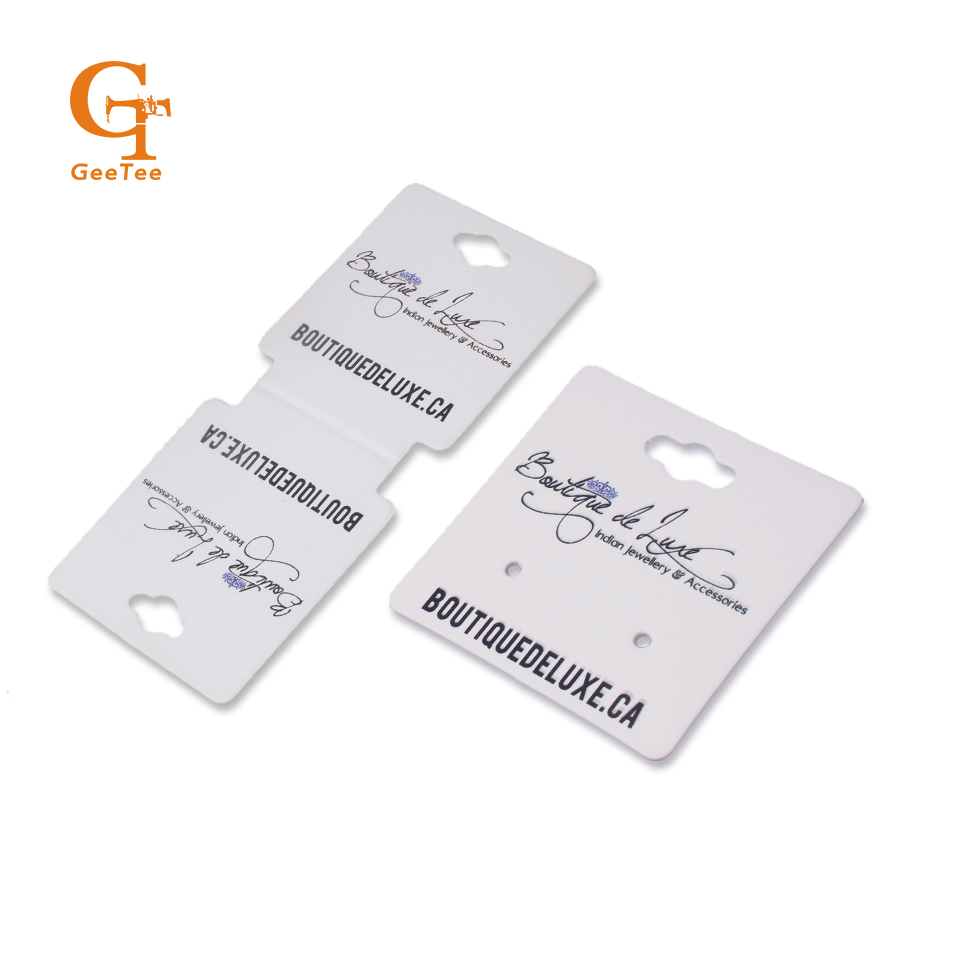 custom customized logo brand name printing earring necklace display cards holder, printed jewelry tags, OEM earring tags image