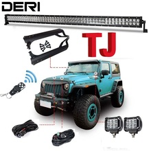 50 inch 288W Combo Dual Row Straight LED Work Light BarMount Brackets Remote Controller for Jeep Offroad for Wrangler TJ 97 06