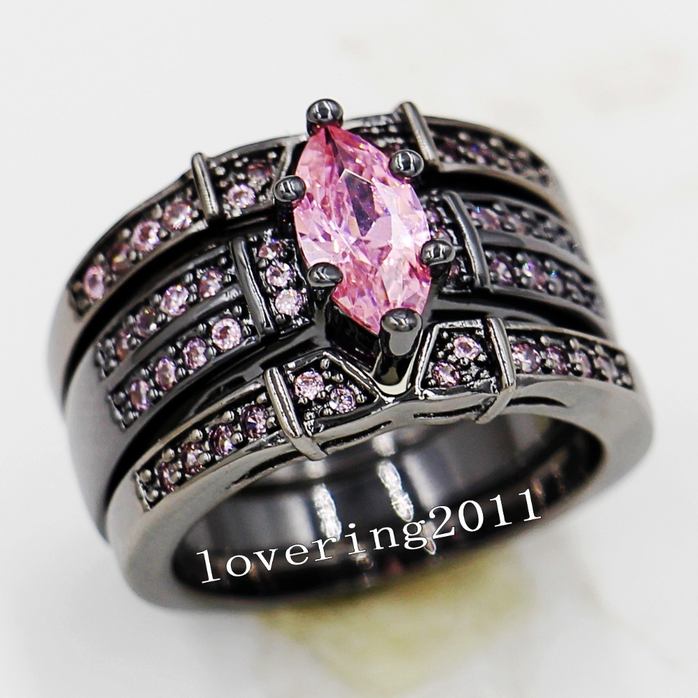 choucong marquise cut pink stone 5a zircon stone 14kt black gold filled 3 wedding band ring set sz 5 11 gift - Pink And Black Wedding Ring Set