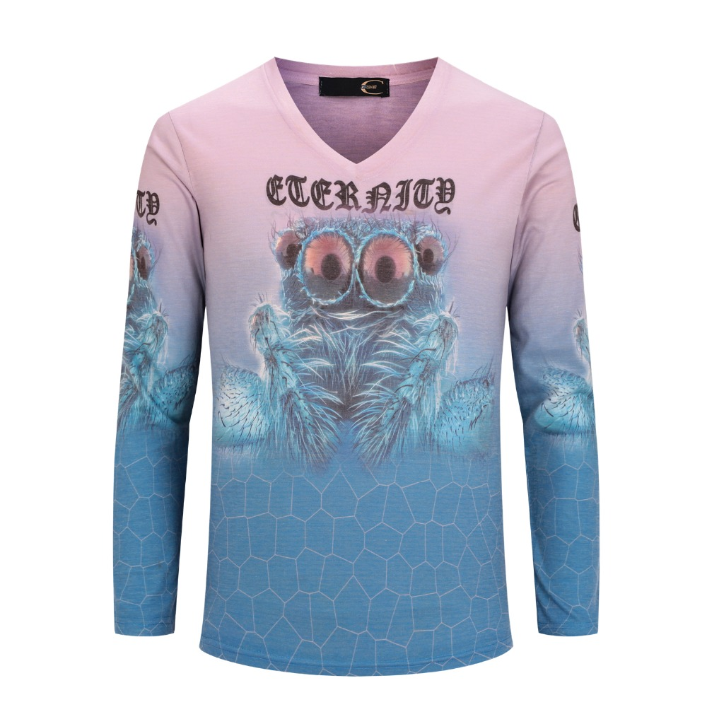 Design your own t shirt digital printing - Aliexpress Com Buy Men Long Sleeved T Shirt Brand European And American Style Male Tide Original Personalized Digital Printing V Neck T Shirt From
