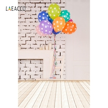 Laeacco White Brick Wall Wooden Board Balloons Child Photography Backgrounds Customized Photographic Backdrops For Photo Studio