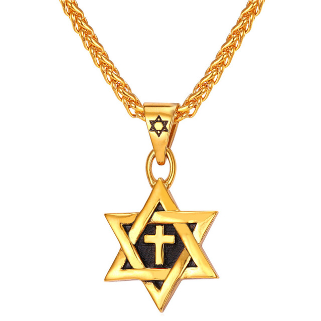 Star of David Cross Pendant Charm Necklaces Jewish Jewelry ...