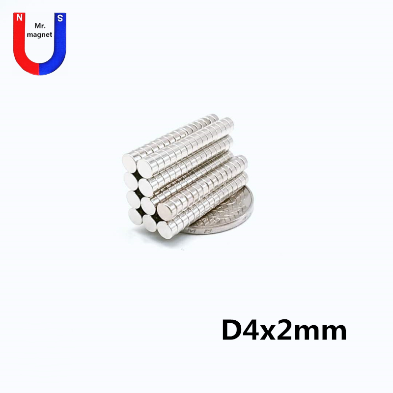 1000pcs 4x2mm Strong disc Magnets Dia 4mm x 2mm N35 Neodymium Magnet Rare Earth 4*2mm free shipping