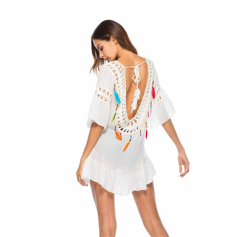 Women Solid Kaftan Dress Backless Bikini Cover Up Solid Tassel Swimwear Robe de Plage Beach Cardigan Dress