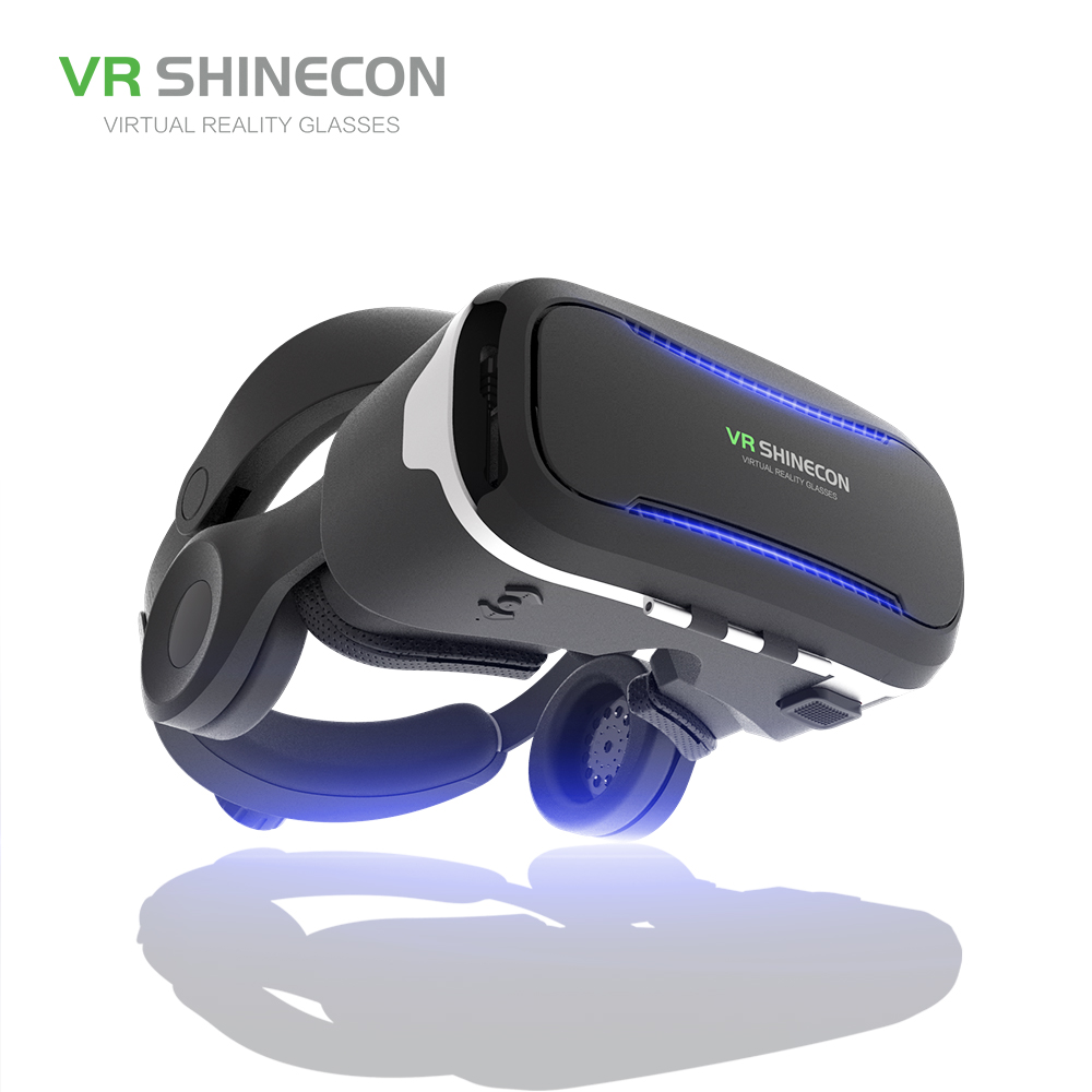 VR SHINECON SC-G02E VR Glasses With Headphones 3D Virtual Reality Glasses Box Pro Cardboard BOX For 4.7-6 inch Smart Phone original xiaomi vr virtual reality 3d glasses mi vr box 3d virtual reality glasses cardboard mi vr for 4 7 5 7 inch smart phone