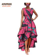 2017 hot sale african dress for women AFRIPRIDE private custom sleeveless pleated party dress 100% pure wax cotton A722582