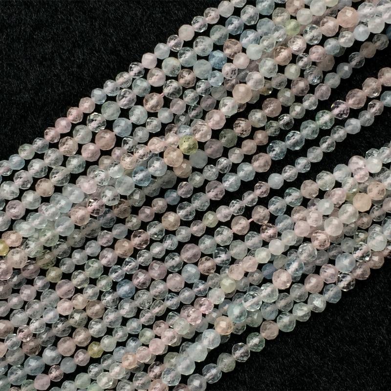 Genuino Naturale Chiaro Multicolore Verde Rosa Blu Acquamarina Beryl Morganite Sfaccettato Rotondo Piccolo Perline 3mm 4mm 15