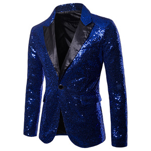 Image 5 - Goud Pailletten Smoking Blazer Mannen Stage Disco Nachtclub Heren Blazers Pak Jas Slim Fit Een Knop Shiny Glitter Blazer Masculino