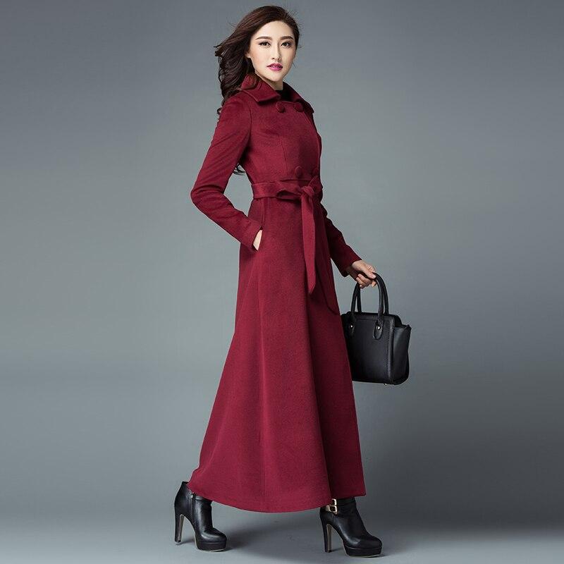 Manteau bleu pourpre Européenne Cachemire Tranchée Laine Design rouge Oversize De Long Nouveau Mince Noir Manteaux Chaud Femmes D'hiver p4xFw