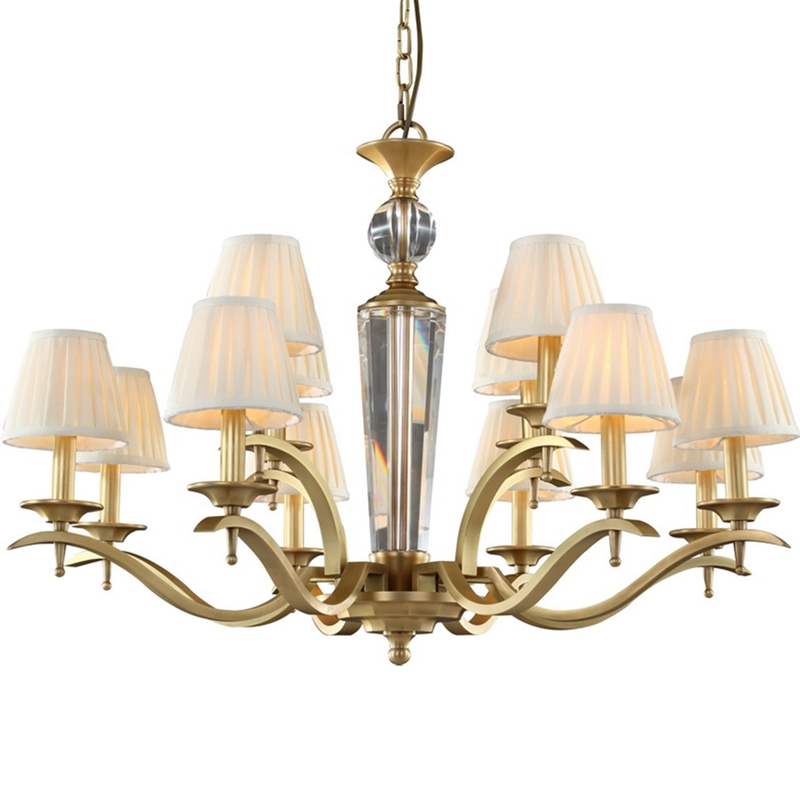 American 6 arm 10 arm Copper Chandelier hall hotel Bedroom Dining Living Room Luxury Suspendsion light Fixture E14 3W lamp 110V