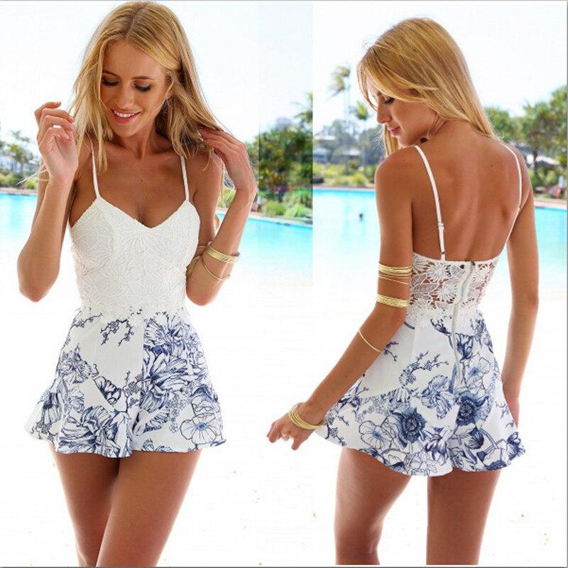 2016 mujeres Sexy encaje Crochet mamelucos moda Blanco estampado Floral correa ajustable cremallera trasera corto Macacao Feminino monos