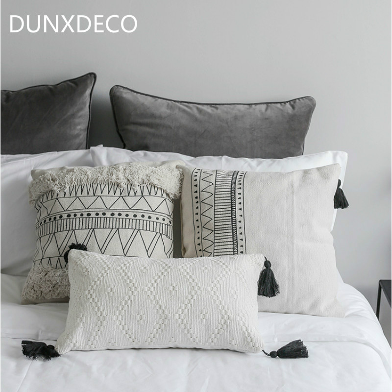 DUNXDECO Cushion Cover Decorative Pillow Case Nordic Geometric White Black Lines Tassels Modern Home Office Sofa Chair Decor tassels pillow