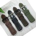 Para garmin vivoactive 24x16mm qualidade couro grnuine pulseiras mens preto marrom faixa de relógio inteligente relógios acessórios