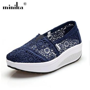 MINIKA Popular Spring Summer Women flat Casual Shoes Ladies Breathable Lace Mesh Increasing Shake Creepers Shoes zapatos mujer grande bolsas femininas de couro