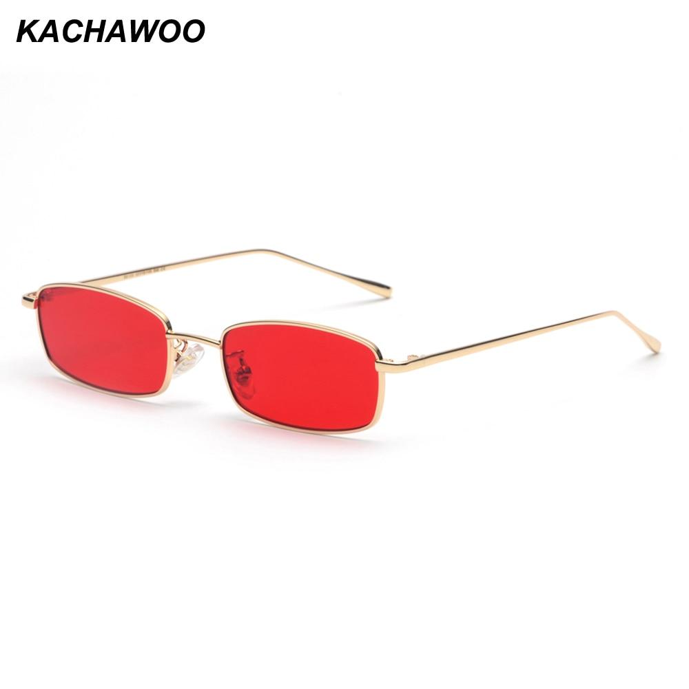 Kachawoo Small Rectangular Sunglasses Men Retro Metal Frame Gold Red Men Fashion Sun Glasses For Women Unisex Summer 2018
