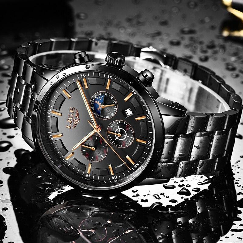 Mode hommes montres LIGE Top marque étanche Sport montre chronographe hommes décontracté en acier inoxydable Quartz horloge Relogio Masculino 2