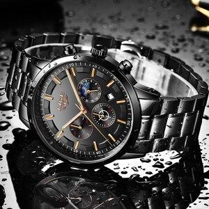 Image 3 - Mode hommes montres LIGE Top marque étanche Sport montre chronographe hommes décontracté en acier inoxydable Quartz horloge Relogio Masculino