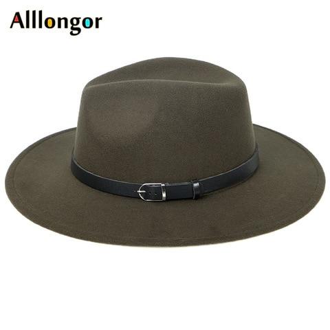 2019 Winter Autumn Black Men Wool Fedora Hat Wide Brim Women Imitation Woolen Ladies Fedoras Jazz Hat Belt Caps Bowler Felt Hats Islamabad