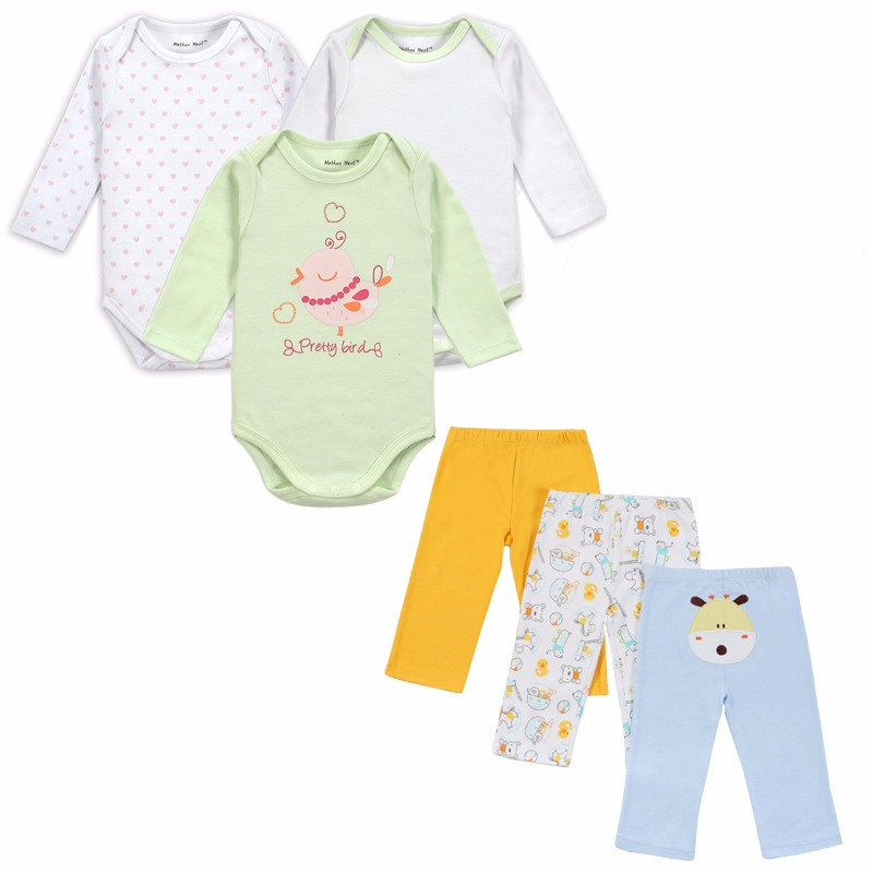 Mother Nest Brand 6 PCS Set Baby Girl Clothing Set Long Sleeves Baby Wear Spring Autumn Casual 100% Cotton Set Shirts+Trousers (1)