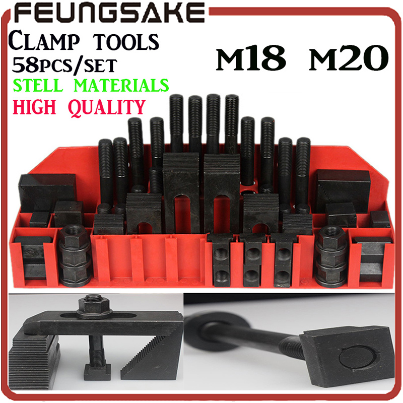 clamping set m18 m20 58pcs Highquality hardness steel quality Metex milling machine,mill clamp kit vice ship DHL,clamping tool цена и фото