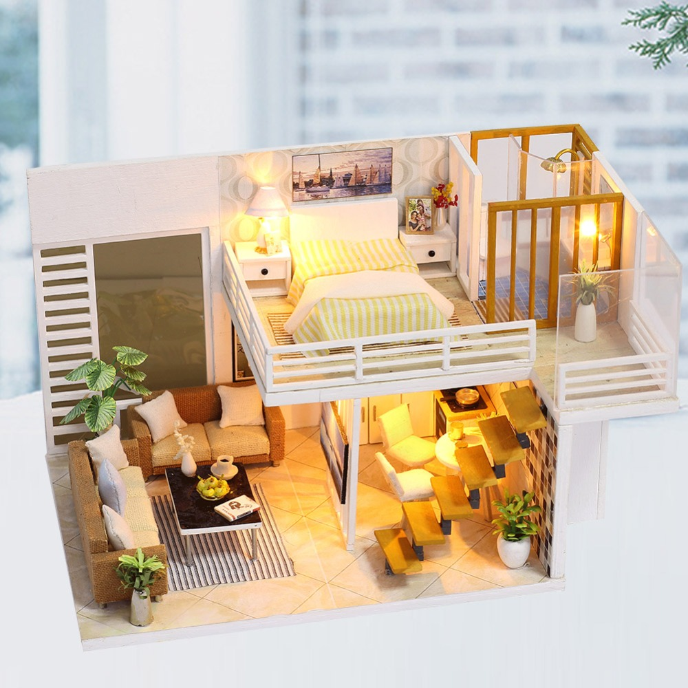 DIY LED Miniature Dollhouse Furniture Decorated Handmade Wooden Music Wooden Dollhouse Toys for Children 15 Years Birthday GiftsDIY LED Miniature Dollhouse Furniture Decorated Handmade Wooden Music Wooden Dollhouse Toys for Children 15 Years Birthday Gifts