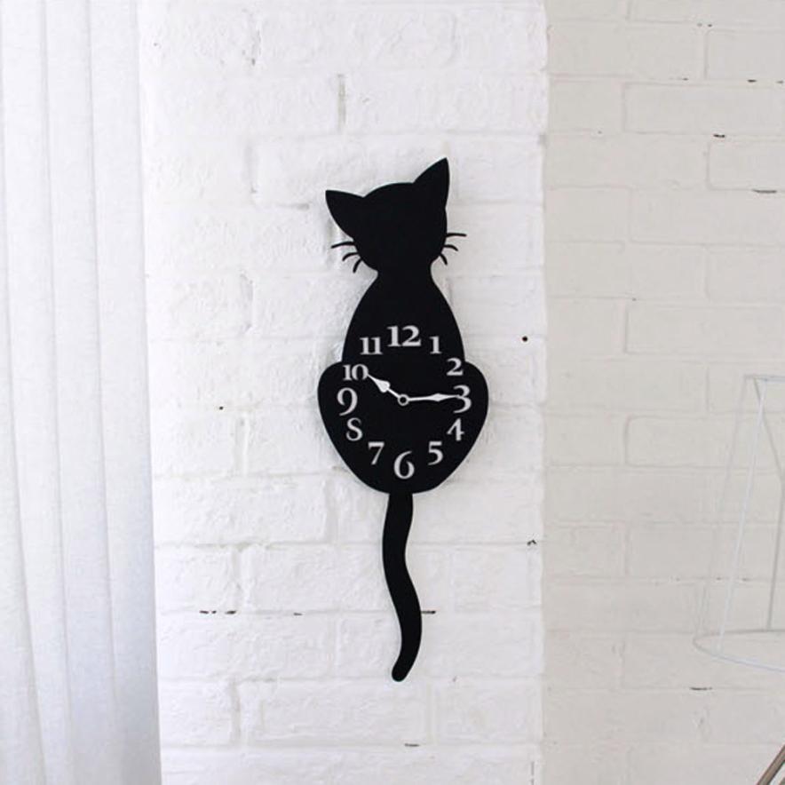 Acrylic Creative Cartoon Cute Cat Wall Clock Home Decor Watch Way Tail Move Silence Home Office Decor Pendulum Clock Clok Z047