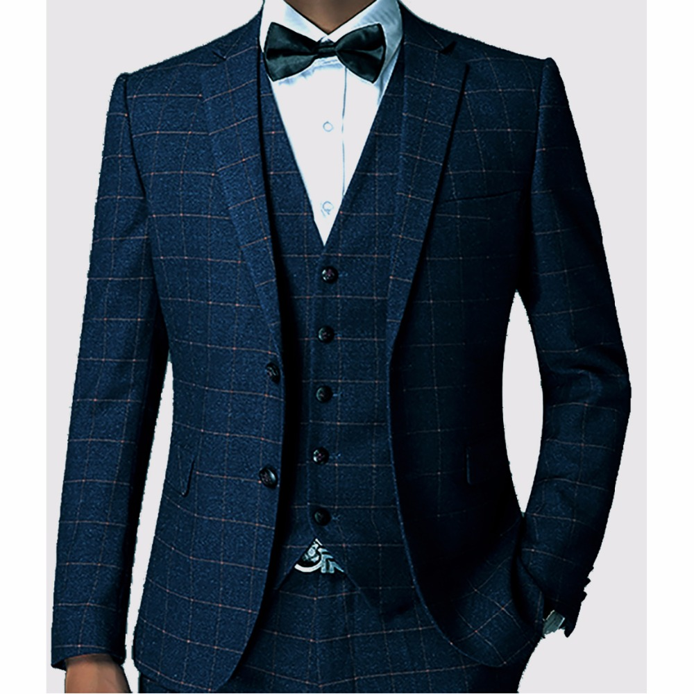 Checkered Blue Suit Red Tie Brown Shoes