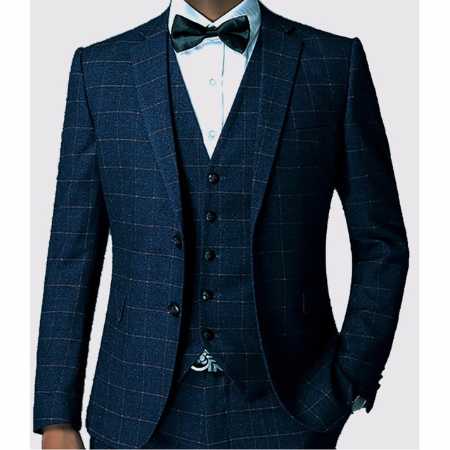 Dark Blue Check Men Suit Tailored Plaid Suits For Men, Mens ...