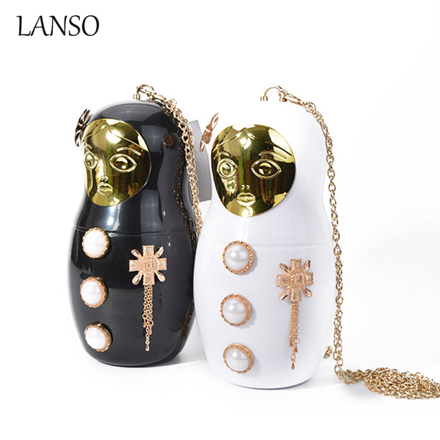 468449b4842c Russian Doll Porcelain Evening Bag Acrylic Mini Purse Women Handbags Clutch  Dinner Obag Funny Novelty Design Chain Shoulder Bags
