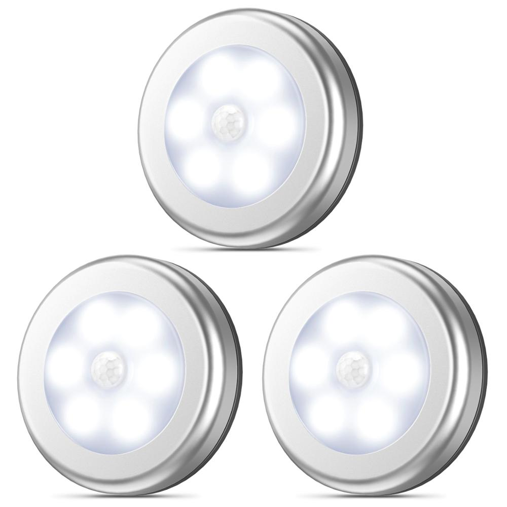AMIR 3/6PCS Motion Sensor Night Light Wireless LED Light Closet Stair Light Magnet Safe Hallway Bathroom Bedroom Kitchen Lights