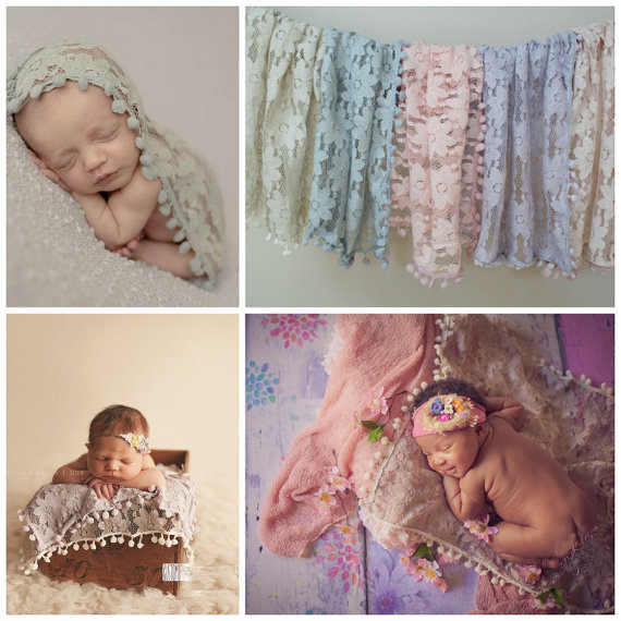 newborn lace flower baby Wrap Cloth photography props baby Tassel ball lace wrapped towel Receiving Baby Blankets