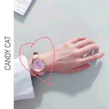 2019 New Watch Female Student Retro College Style Korean Version of The Simple Trend of Small Fresh and Wild Cute watch girl student korean version of the simple retro small small disc female table small round black with black face