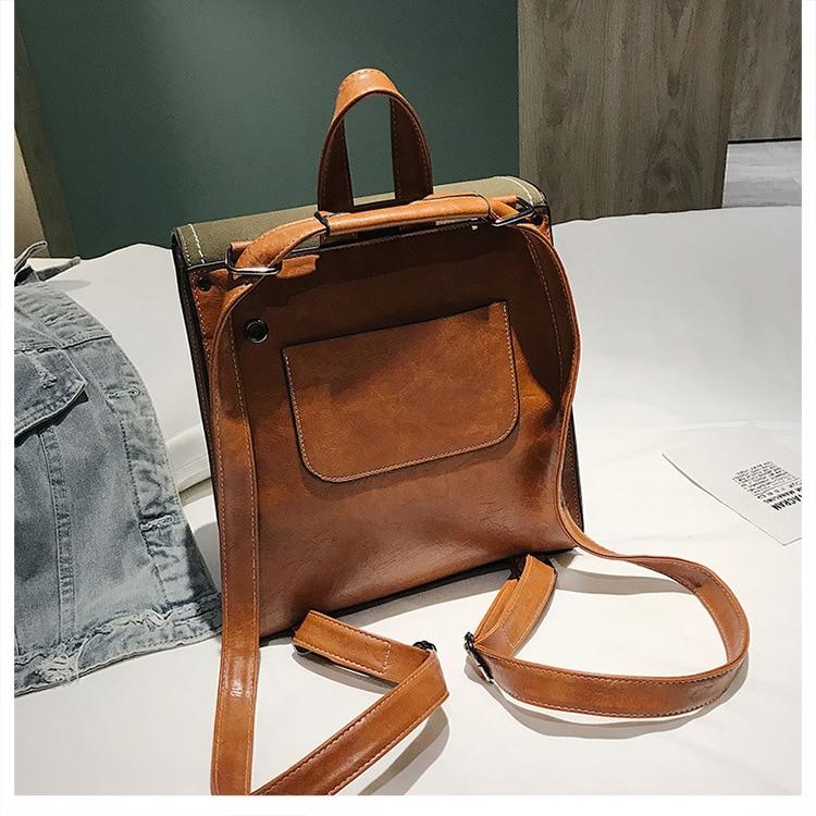 Women's Small Backpack Girl PU Leather Preppy Style School Bag 2019 Fashion Brand Female Vintage Scrub Travel Rucksack for Women (5)