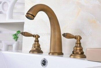 цена на Antique Brass Widespread Bathroom Basin Faucet Dual Handle 3 Holes Basin Mixer Sink Taps Deck Mounted zan076