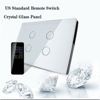 US AU Standard Livolo Wall Switch Glass Panel 4Gang Touch Screen Wifi Wireless Remote Control Light