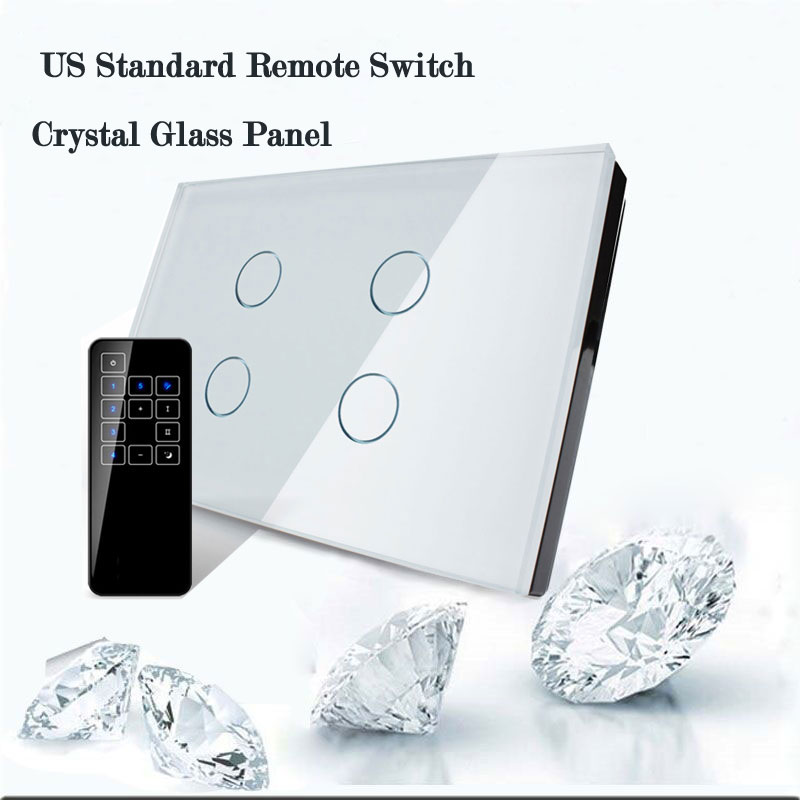 US/AU Standard Wall Touch Switch,Crystal Glass Panel 4 Gang Remote Control Light Wifi Switch Compatible Broadlink Pro Smart Home us standard 1gang 1way remote control light touch switch with tempered glass panel 110 240v for smart home hospital switches
