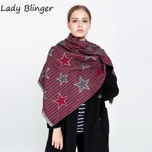 Леди blinger calssical в полоску со звездами шали и палантины искусственного кашемира Multicolors моды шарфы для женщин мужчин пашмины