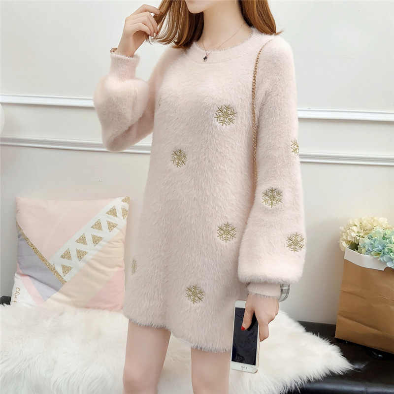 Autumn New Sweater Women O-Neck Pullover Imitation Velvet Long Loose Snowflake Embroidered Lantern Sleeve Knitted Sweater MZ3155
