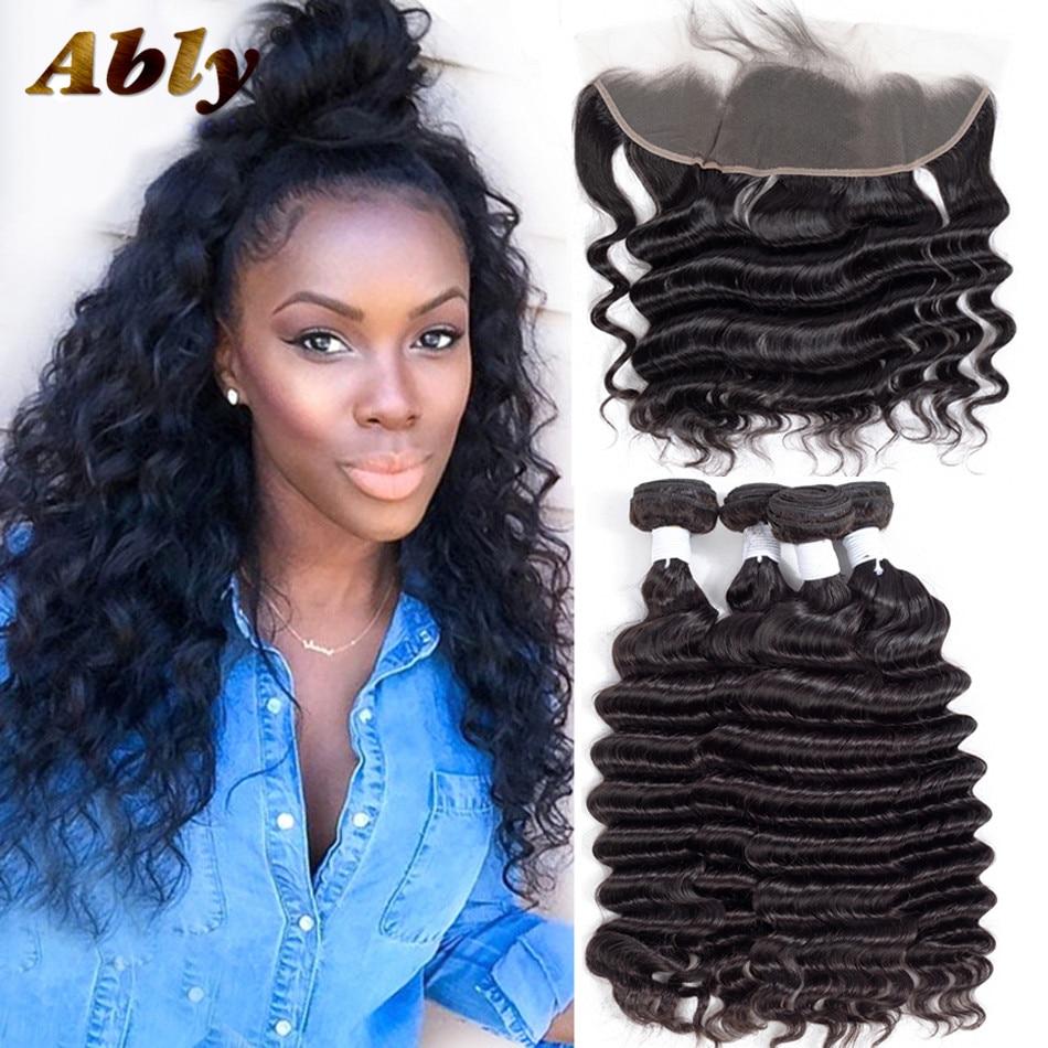 Loose Deep Wave Bundles Med Frontal Ably 100% Brazilian Remy Wet And - Mänskligt hår (svart)