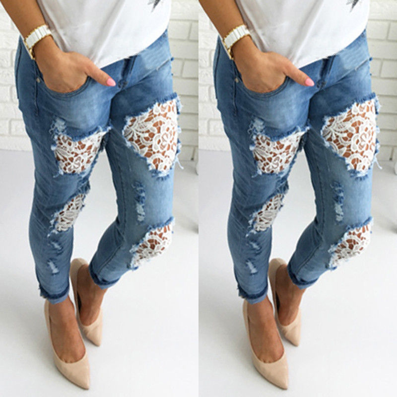 Fashion Women Skinny Lace Floral Crochet Stretch Denim Slim Trousers High Waist Hole Pencil Jeans 2016 hole jeans free shipping woman distressed true denim skinny jean pencil pants trousers ripped jeans for women 031