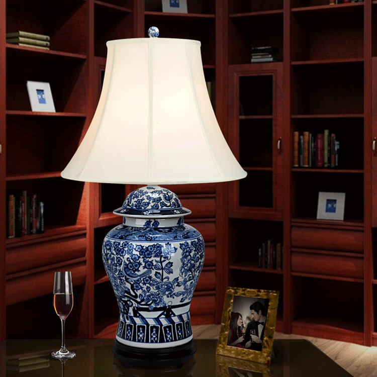 Vintage Study Room: Hand Painted Blue And White Antique Living Room Study Room