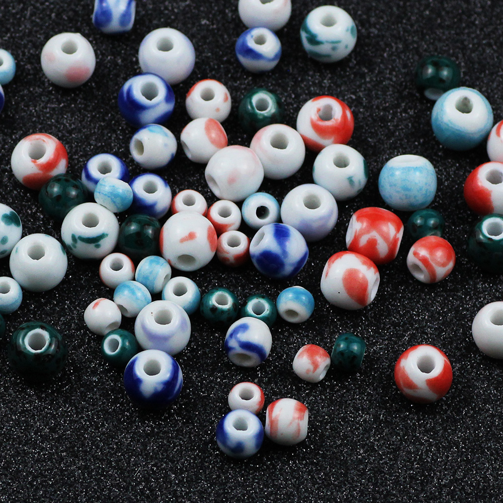 WLYeeS 100pcs 6mm to 10mm Round Chinese Ceramic beads fit Necklace Bracelets earring Diy Spacer Beads For Jewelry Making Finding in Beads from Jewelry Accessories