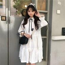 f64a7d34f0f Automne Japonais Harajuku Femmes Blanc Robe Coton Bandage décontracté Lolita  Style Robes Gothique Ruches Coréen Doux